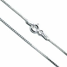 Square Link Venetian Box Chain 1mm Solid .925 Italian Sterling Silver Necklace