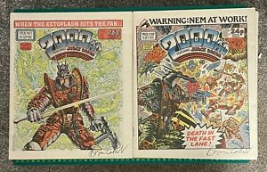 Bagged & Boarded 2000 AD Comics Progs 438 & 487 1985/6 - Signed Copies Ref 2K335