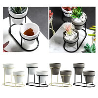 3 In1 Mini Ceramic Succulent Plant Pot Flower Planter Container w. Stand Set