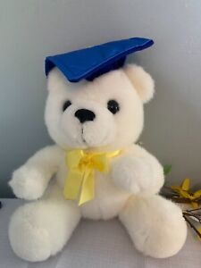 Graduation Bear Plush with Blue Cap and Yellow Tassle
