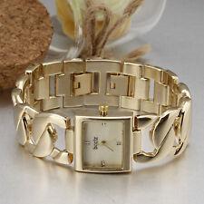Elegant Golden Steel Bangle Style Ladies Women Quartz Wrist Watch Bracelet Reloj