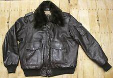 Vintage Flying Ace Bomber jacket Steer Hide leather brown sherpa pilot mens 40