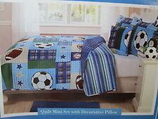 3 pc Kids Expressions Sports Twin Reversible Quilt, Sham, Decor Pillow Set Blue