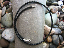 Braided Bolo Leather Cord Necklace - Pure Sterling Silver - mens - black - USA
