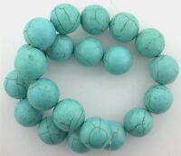 20mm Round Blue With Matrix Magnesite Turquoise Bead No Matrix 16 Inch Strand