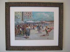 """Listed Italian Artist Oscar Ricciardi Rare Gouache """"Neapolitan Market"""" C. 1900"""