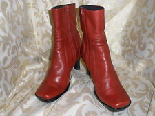 NINE WEST BURGUNDY LEATHER ANKLE BIKER PANTS BOOTS  5 M  STYLE:  APARTMENT