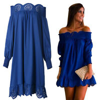 Fashion Women Girls Boho Ruffle Sleeve Off Shoulder Tops Shirt Blouse Dresses