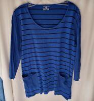 Women's knit T-Shirt Top sz XL Blue Black Stripes Long Sleeve Cotton blend