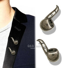2x Men Silver Smoking Pipe Collar Shirt Hat Tie Lapel Scarf Pin Badge Brooch