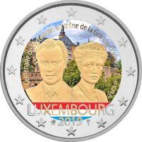 2 Euro Gedenkmünze Luxemburg 2019 coloriert  mit Farbe / Farbmünze