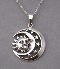 925 Sterling Silver Sun Moon Stars Pendant Necklace Celestial New