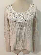 Free People Lace Trim Bejeweled Cable Knit Sweater Ivory/Bone Size S