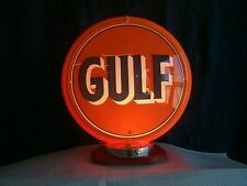 gas pump globe GULF repo 2 glass LENS & LIGHT STAND, NEW GREAT FOR GIFTS