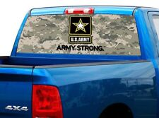 P482 US Army Camo Rear Window Tint Graphic Decal Wrap Back Pickup Graphics