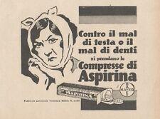 Z1866 Compresse BAYER di ASPIRINA - Pubblicità d'epoca - 1929 Old advertising