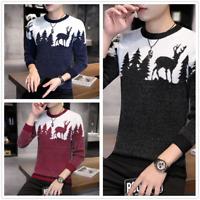 Mens Winter Sweater Warm Wool Knitted Tree Deer Crewneck Long Sleeve Pullover