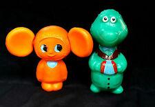 1970s Russian Cartoon Characters Cheburashka & Crocodile Gena Plastic Toys Set