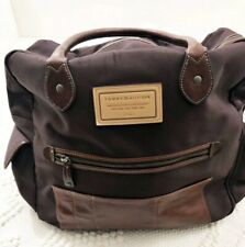 Tommy Hilfiger Duffle Weekender 20 Inch Travel Bag Brown Canvas & Brown Leather!
