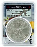2007 W Burnished Silver Eagle PCGS SP69 - West Point Frame