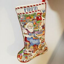 Completed Cross Stitch Christmas Stocking Santa Workshop Elves Toys Mama