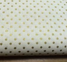 Shabby Chic Gold Spots 100% Cotton Fabric. Price per 1/2 meter
