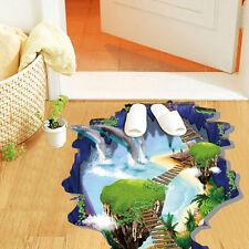 Wandbilder 3D Delfine Hängebrücke Wasserdicht Fußbodendeko Aufkleber Sticker w