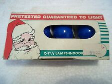 Vintage Collectible Pack Of 4 Blue C-7-1/2 Light Bulbs Santa Claus Packaging W@W