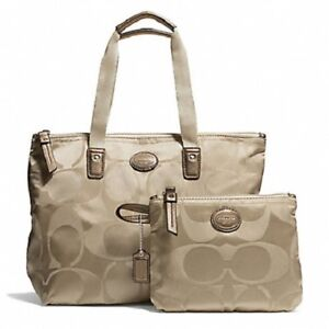 NEW COACH GETAWAY SIGNATURE NYLON SMALL PACKABLE TOTE SILVER/LIGHT KHAKI