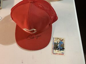 Major League Baseball Pete Rose Autographed Cincinnati Red Hat & Sports Card Lot