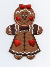 Iron On Patch Embroidered Applique Christmas Gingerbread Girl with Hearts LARGE