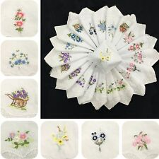 6pcs 100% Cotton Embroidered Napkin Floral Assorted Cloth Handkerchief Ladies