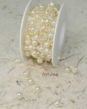 1m Perlengirlande Schleifenband Perlen creme Hochzeit Perlen Perle Perlenband
