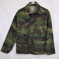 Vtg Pointer Brand Denim Camo Canvas Jacket Sz M L Made in USA Camouflage Hunting