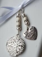 Wedding Bouquet Charm Round Silver Pendant always in my heart charm &  Gift Bag