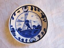 Delft Blue Miniature 2.75 Inch Handpainted Plate Crown and Wreath Mark EUC