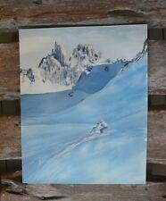 Listed Artist Elizabeth Gutman Kaye (1891-1971) Skier Watercolor Painting Skiing