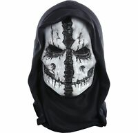 Grim Reaper Mask with Hood for Adults, One Size, With a Face and a Black Hood