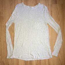 T by Alexander Wang Rayon Long Sleeve Tee Top S Small Uk 8 Beige Melange Cream