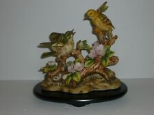 Andrea By Sadek Porcelain Warblers Birds by Flowers & Leaves w/ Wood Base