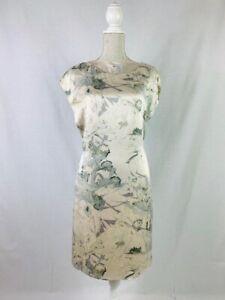 M&S Autograph 100% Silk Cream Floral Shift Dress Size 8 Wedding Guest Occasion