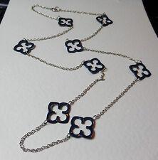 "LOVELY BLUE ENAMEL QUATRO LONG SILVER PLATED CHAIN NECKLACE 34"" 85 cm tudor rose"