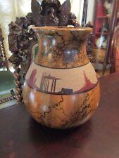 """Large Pottery Vase Signed """"Elsie Navajo"""" Navajo Horse Hair Sand Design [*A]"""