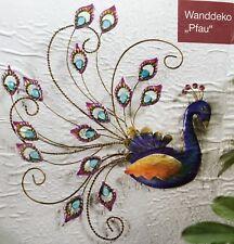 1 Wanddeko Pfau NEU Wandbild mit Glitzer aus Metall 40 cm gross
