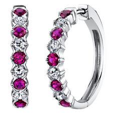 Sterling Silver Created Ruby Alternating Hoop Earrings 1.5 Carats