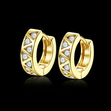New 18K Yellow Gold Plated Korean Filled Cubic Zirconia Huggie Hoop Earrings