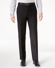 $190 CALVIN KLEIN 36W X 30L Men's Black Wool SLIM FIT FLAT FRONT DRESS PANTS