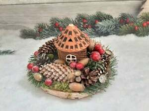 Christmas candle centerpiece, Rustic table centerpiece, Сeramic candle holder
