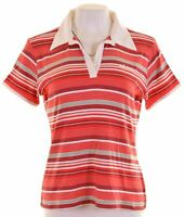 ADIDAS Womens Polo Shirt UK 16 Large Red Striped Cotton  D217