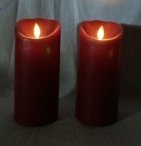 "2 Luminara 7"" Flameless Wax Moving Wick Candle LED Red Burgandy Maroon Remote"